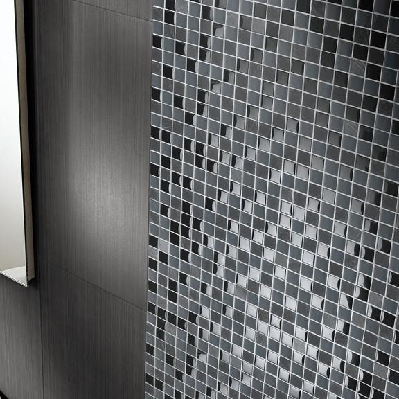 Plaque décor pierre grise - verre noir