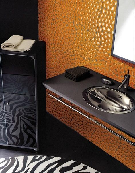 plaque d cor galet verre orange casseau d cor. Black Bedroom Furniture Sets. Home Design Ideas