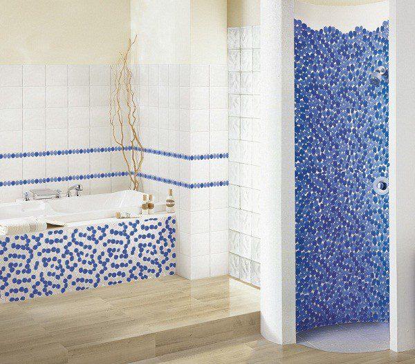 Plaque décor galet verre blanc-bleu